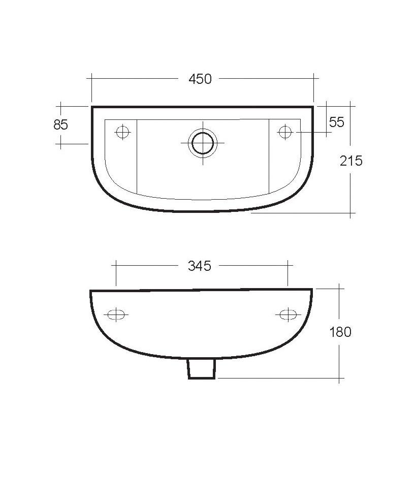 Compact Slim 450mm Cloakroom Basin Rh