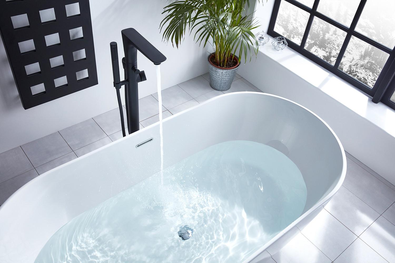 Vibe Black Freestanding Bath Shower Mixer   FrontlineBathrooms.com