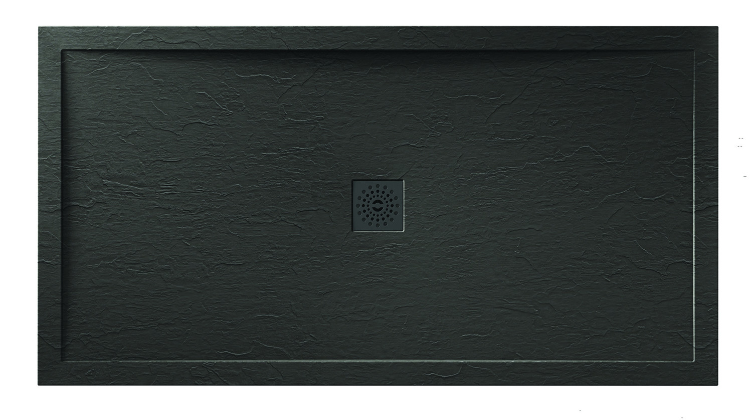 Designer Stone Black Slate Shower Tray Black Waste