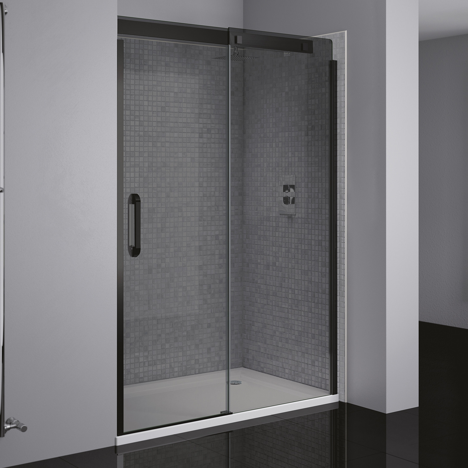 Prestige 178 Right Hand Sliding Door Black Smoked Glass