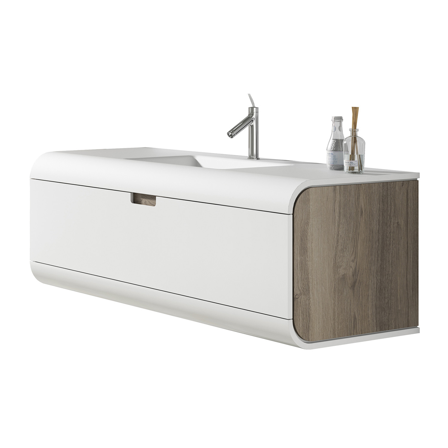 Sunne 800mm 1 Drawer Wall Hung Vanity Unit With Solid Surface Basin Frontlinebathrooms Com