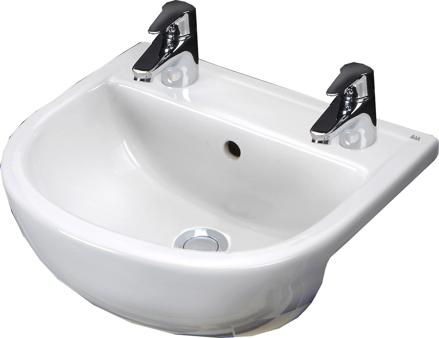 Compact 550mm Semi-Recessed Basin - 2 Tap Holes