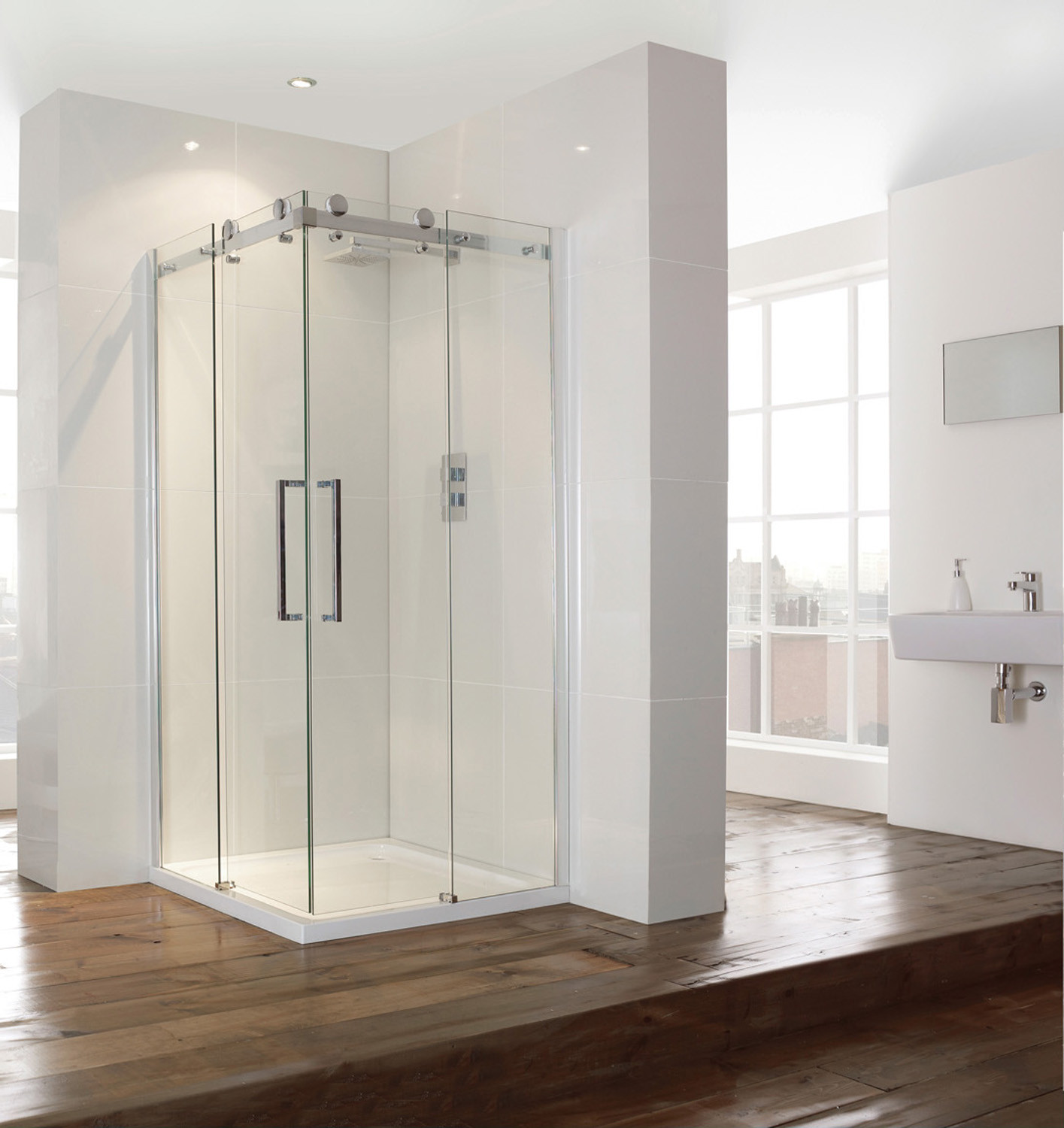 Aquaglass+ 8mm Frameless Corner Entry Enclosure