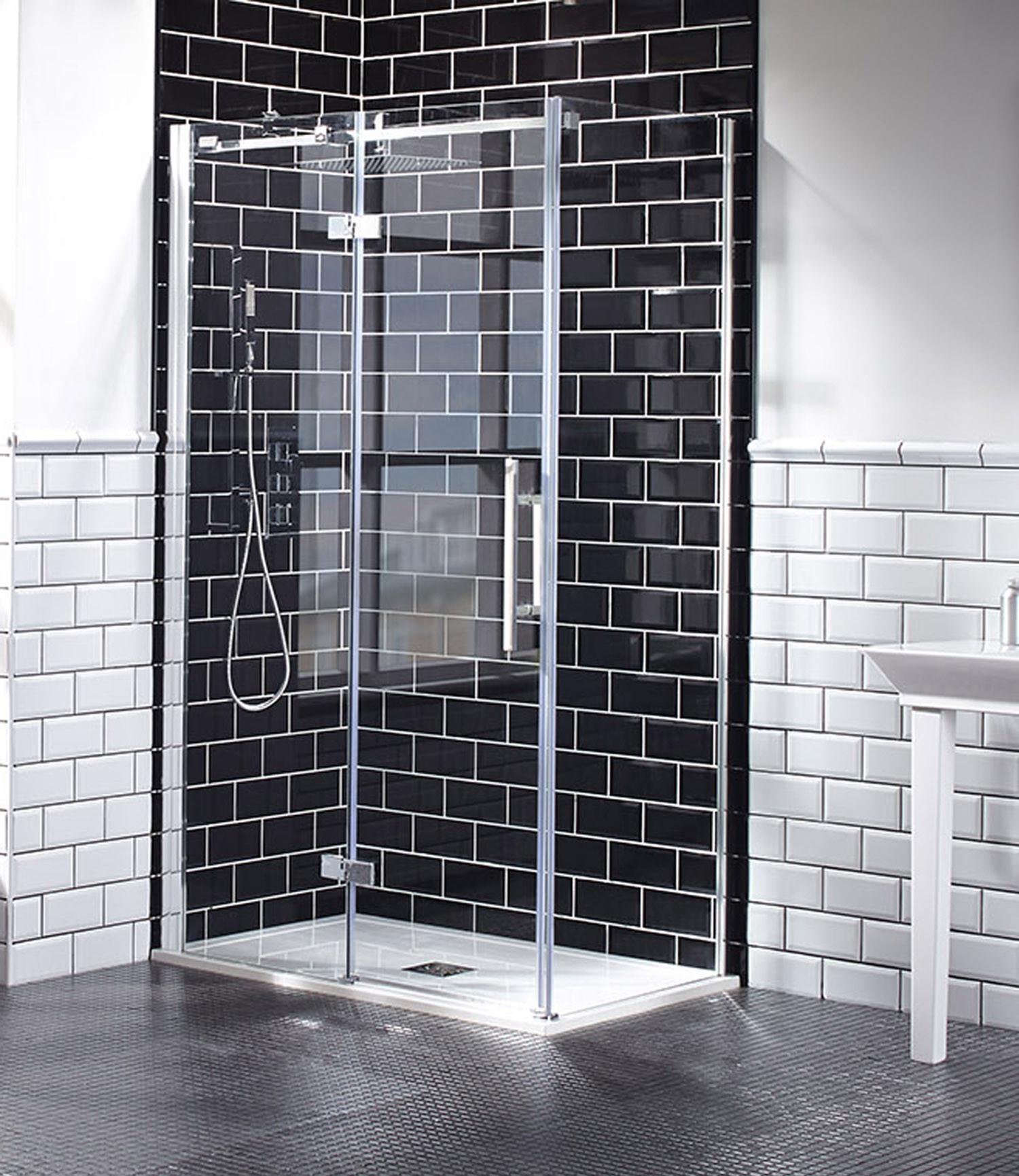 Aquaglass+ Elegance Hinged Door with Inline Panel - Left Hand