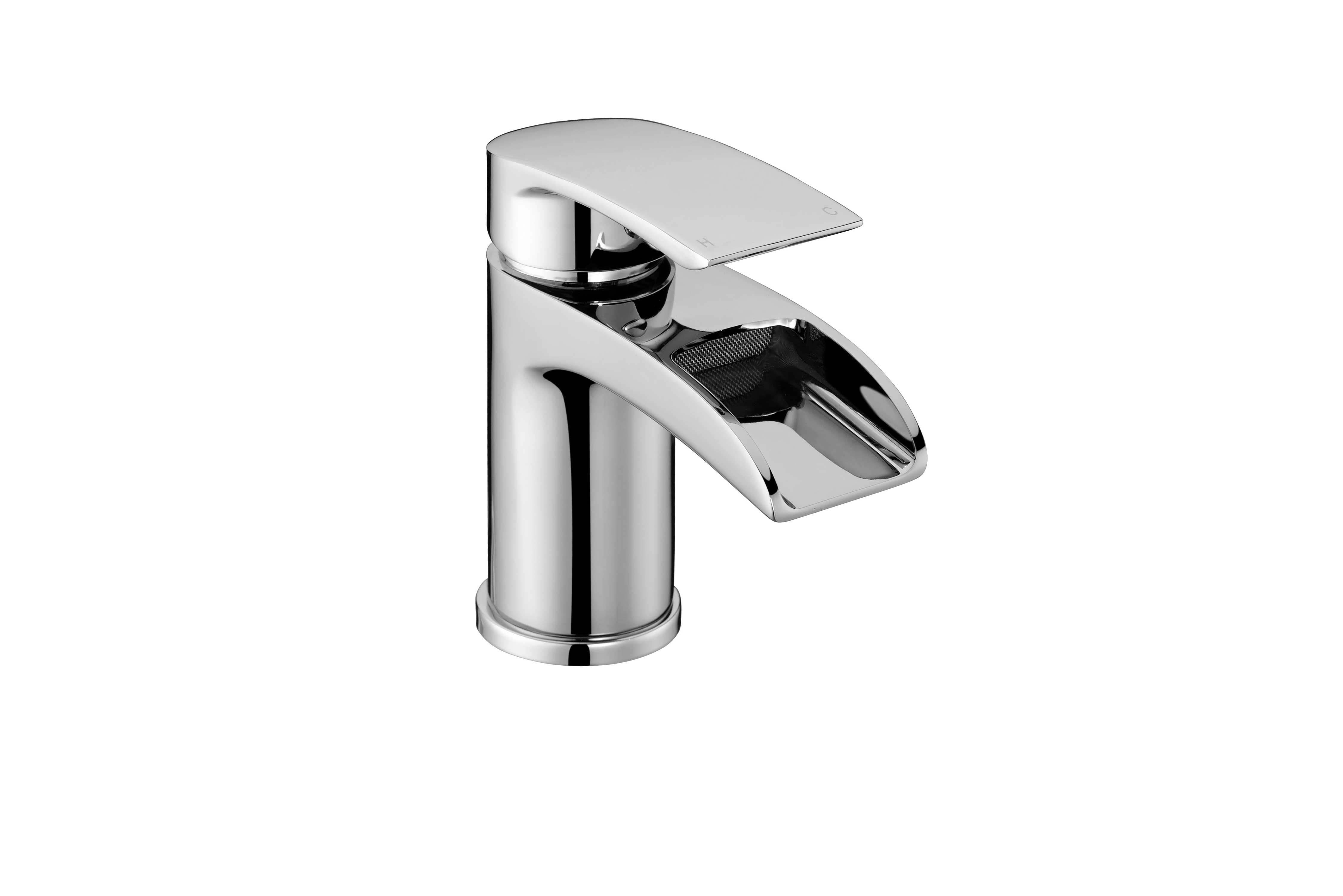 Flo Waterfall Basin Mixer with Sprung Waste