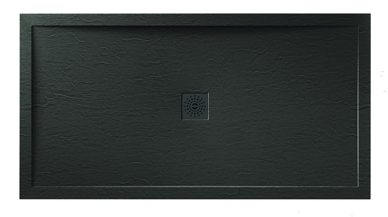 Designer Stone Black Slate Shower Tray - Chrome Waste