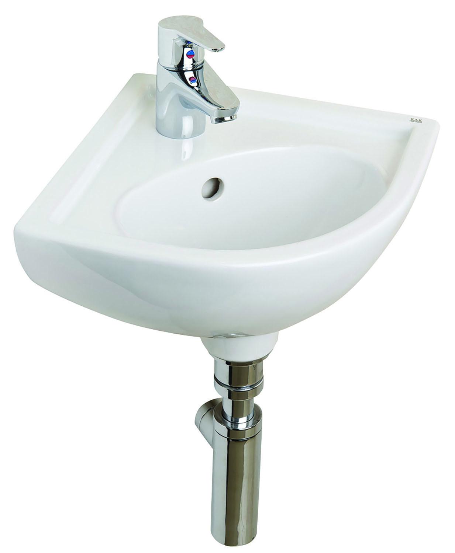 Compact 315mm Corner Cloakroom Basin - 1 Tap Hole