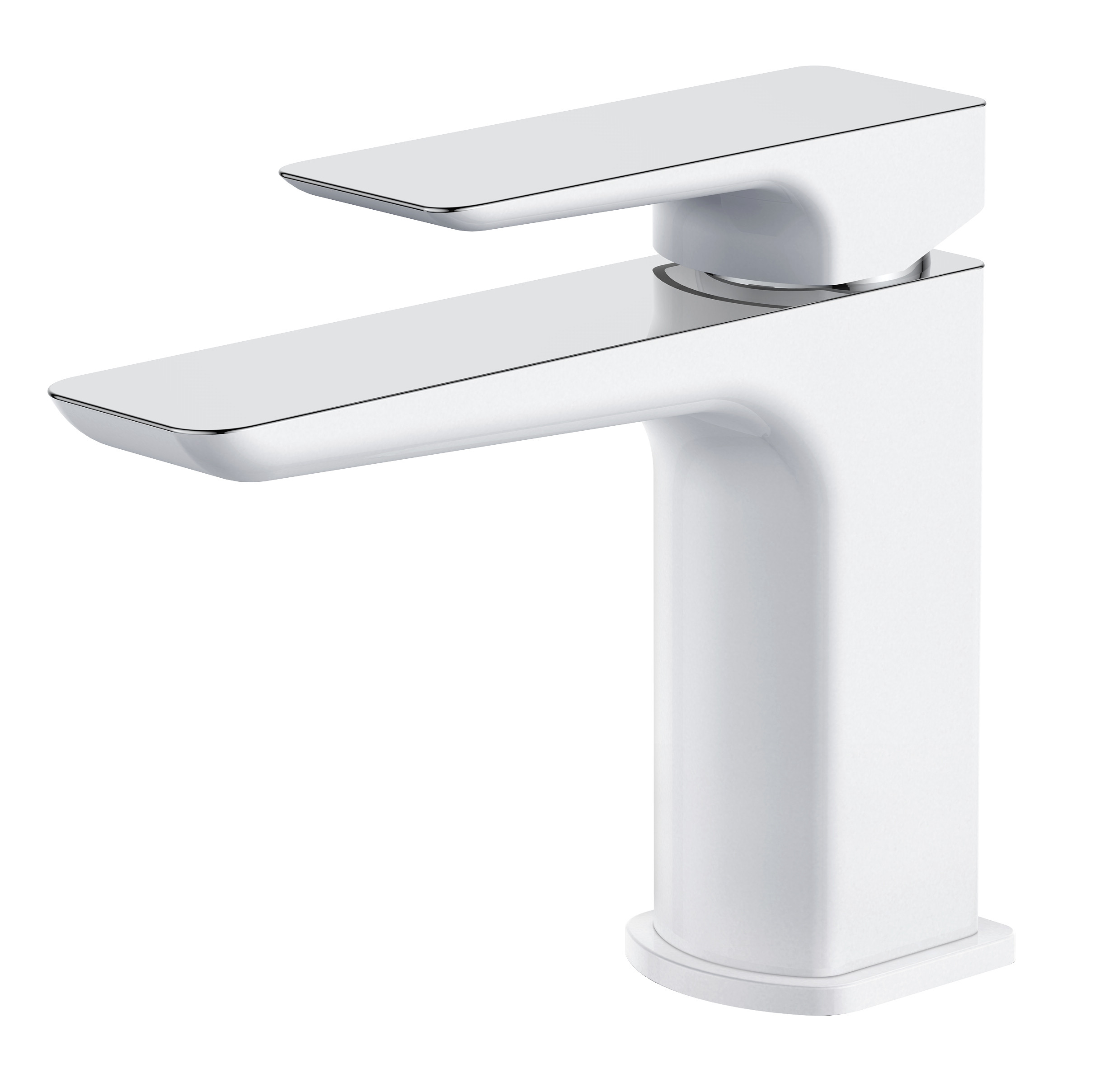 Sabre Chrome and White Basin Mixer with Sprung Waste