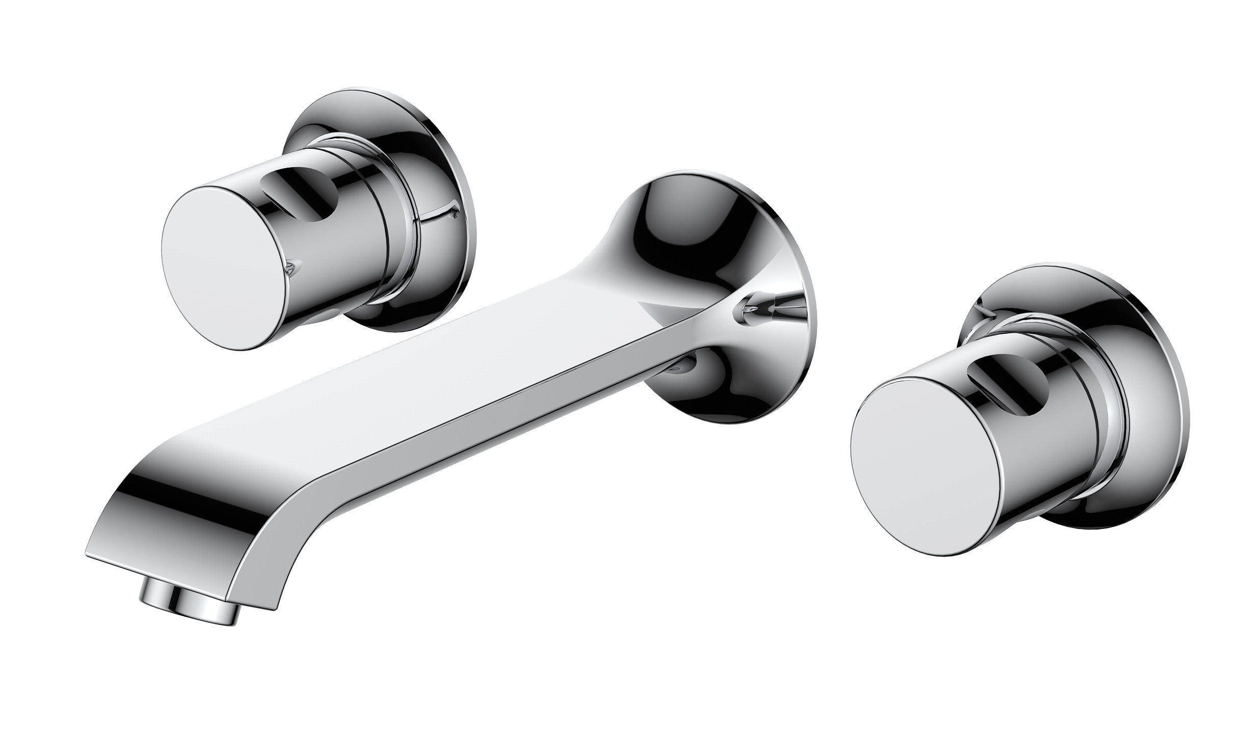 Basque 3 Tap Hole Basin Mixer with Sprung Waste