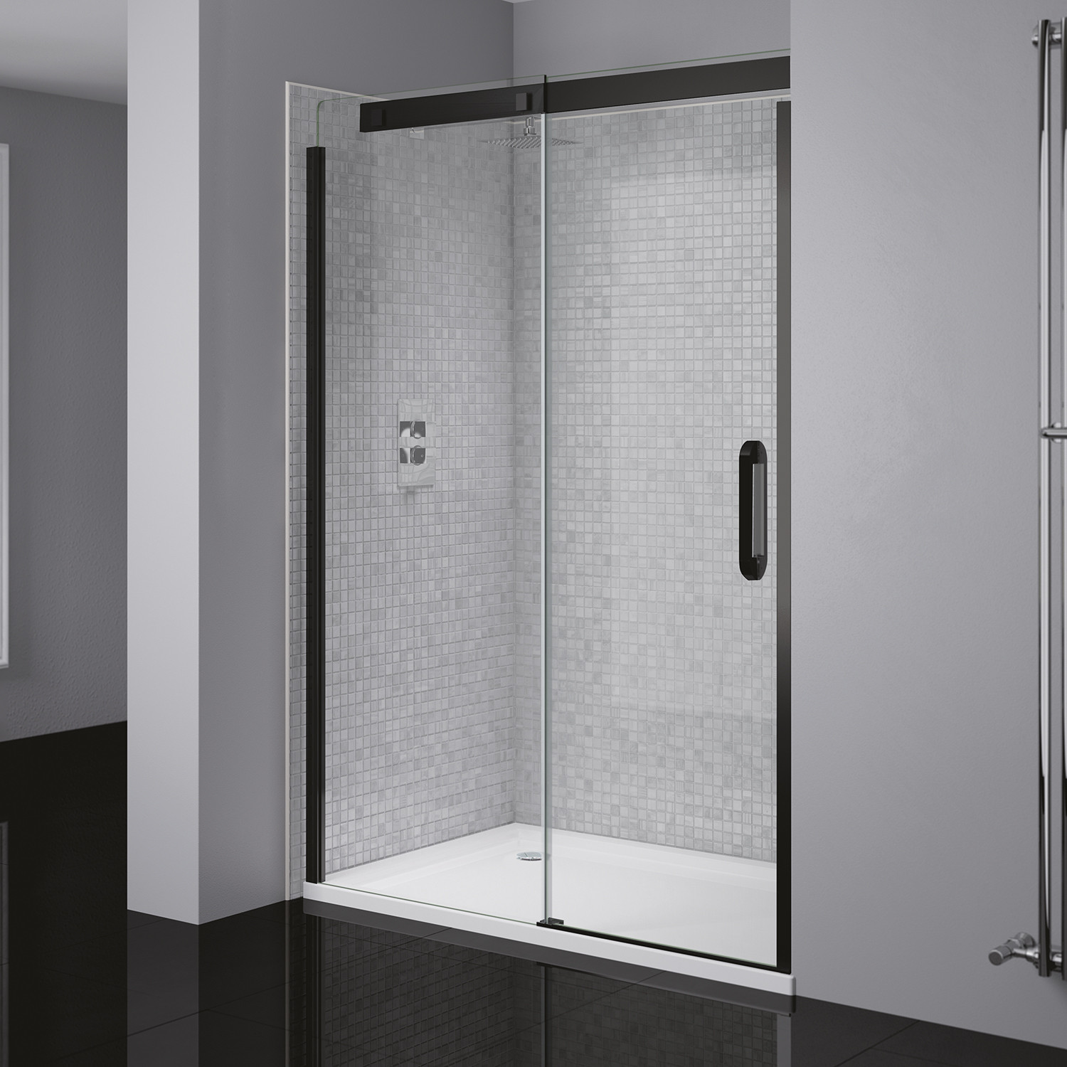 Prestige 178 Left Hand Sliding Door Black Clear Glass