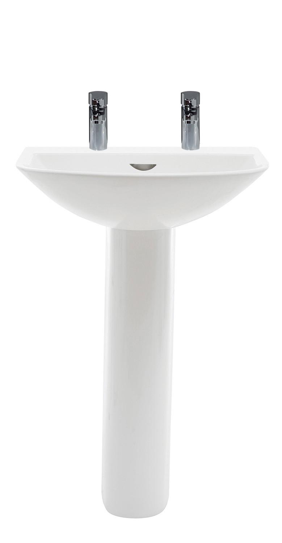Reserva 550mm Full Pedestal Basin - 2 Tap Holes