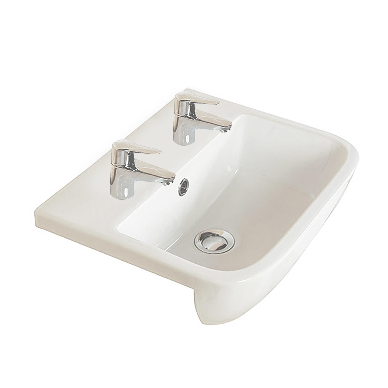 Series 600 Semi-Recessed Basin - 2 Tap Holes