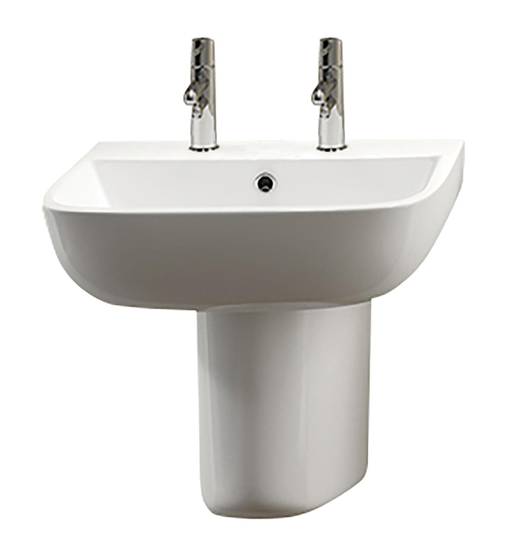 Series 600 Semi-Pedestal Basin - 2 Tap Holes