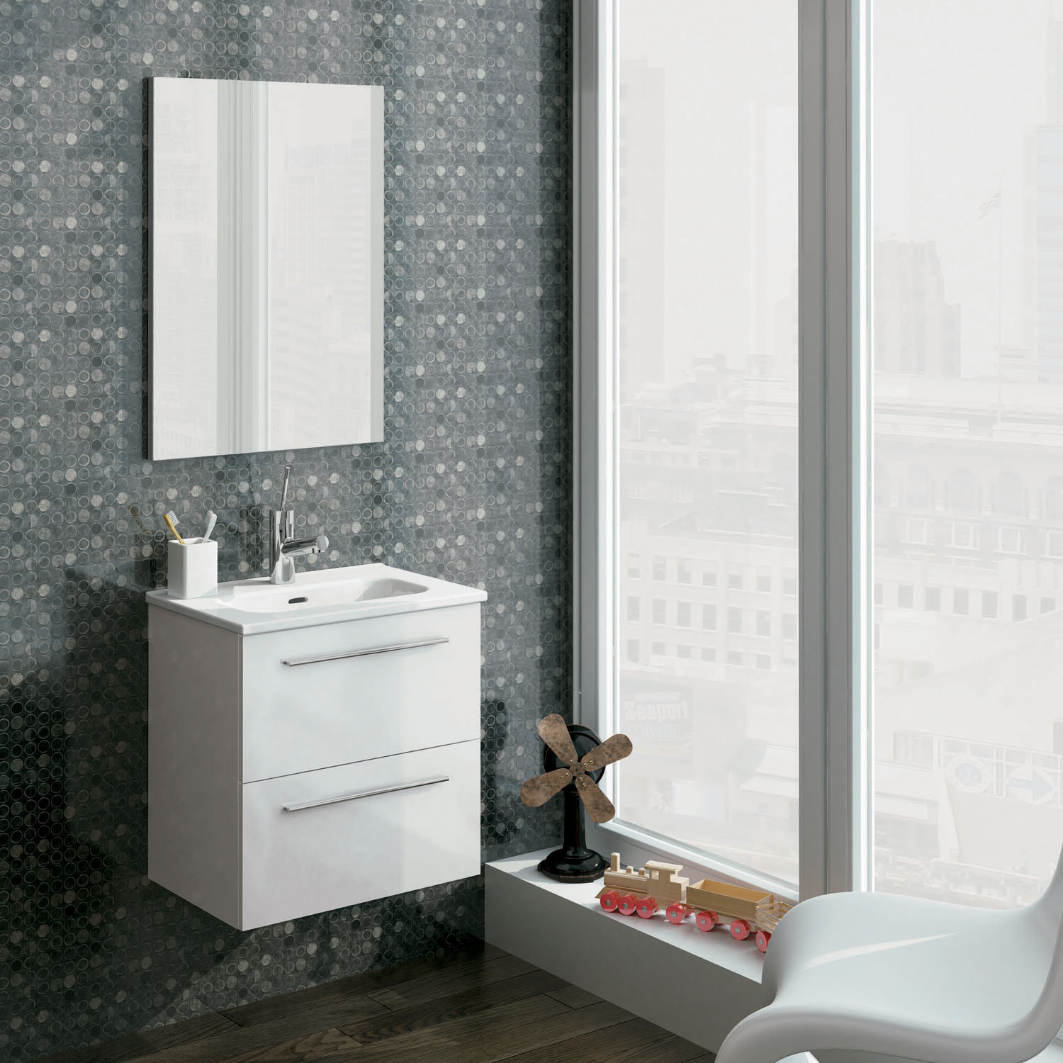 Street Wall Hung Vanity Unit And Mirror Set White Gloss