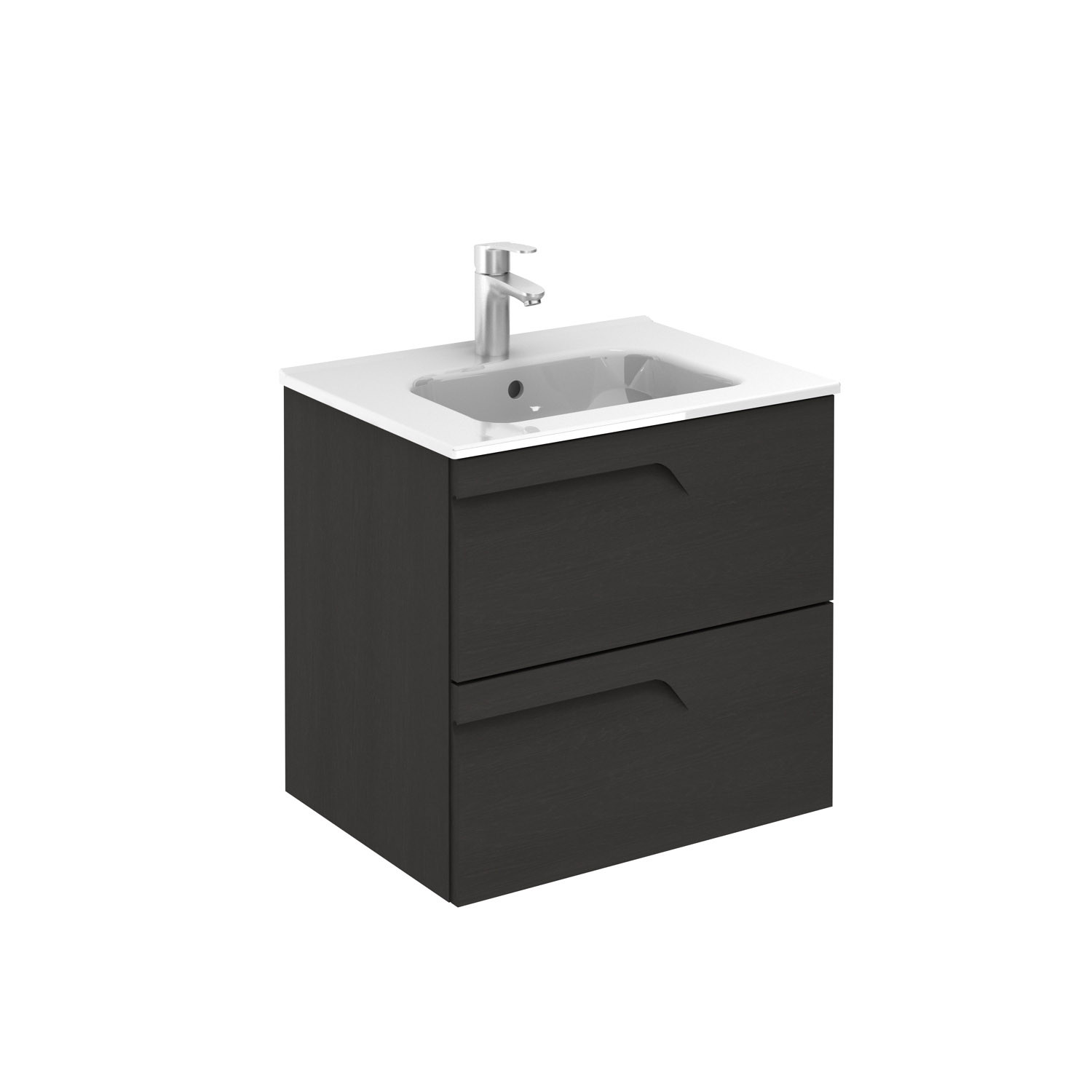 Vitale 600mm Slimline 2 Drawer Wall Hung Vanity Unit Urban Grey Frontlinebathrooms Com