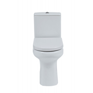 Compact Rimless Flush-to-Wall Toilet with Soft-Close Seat