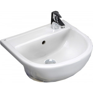 Compact Slim 400mm Semi-Recessed Basin - LH