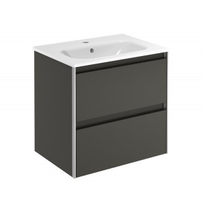 Valencia 600mm 2 Drawer Wall-Hung Vanity Unit - Anthracite
