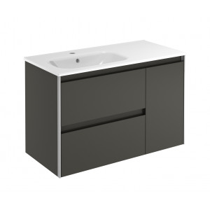 Valencia 900mm Wall-Hung Vanity Unit with Basin Shelf - Anthracite