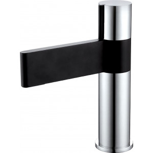 Line Black & Chrome Basin Mixer with Sprung Waste