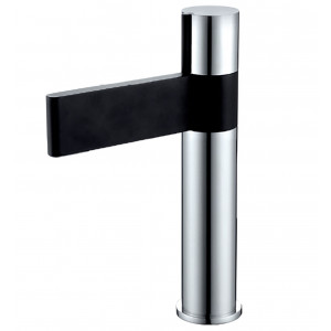 Line Black & Chrome Tall Basin Mixer with Sprung Waste