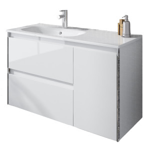 Valencia 900mm Wall-Hung Unit with Basin Shelf - White Gloss