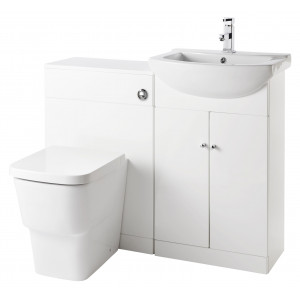Aquapure 1 Furniture Pack with Cubix Toilet & Ixos Basin Tap - White Gloss