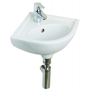 Compact 315mm Corner Cloakroom Basin - 2 Tap Holes