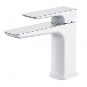 Sabre White & Chrome Basin Mixer with Sprung Waste