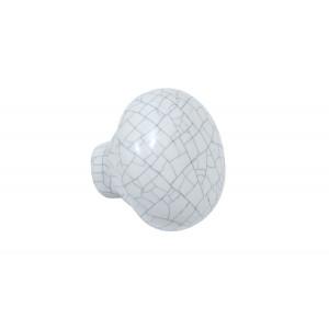 Holborn Round Cabinet Handle - White Crackle Glaze