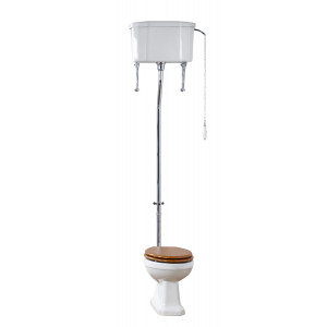 Holborn High-Level Toilet with Wooden Quick-Release Seat