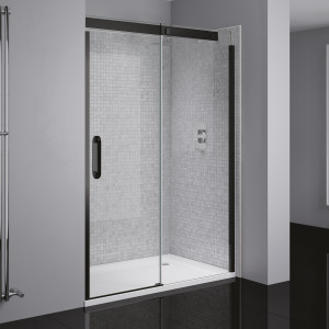 Prestige² Right-Hand Sliding Door - Black/Clear Glass