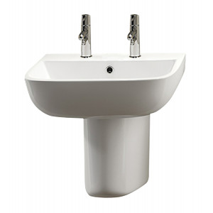 Series 600 Semi-Pedestal Basin - 2 Tap Holes
