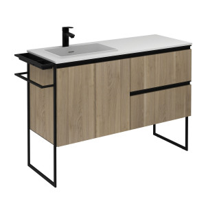 Structure 1200mm 2 Door, 2 Drawer Vanity Unit with Solid Surface Basin - Oak
