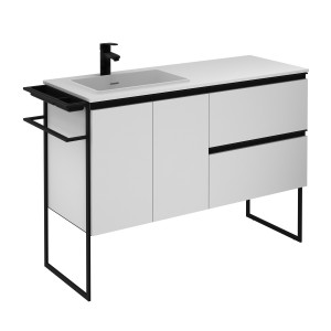 Structure 1200mm 2 Door, 2 Drawer Vanity Unit with Solid Surface Basin - Matt White