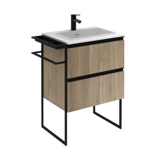 Structure 600mm 2 Drawer Vanity Unit with Solid Surface Basin - Oak