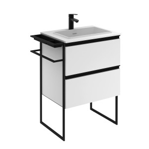 Structure 600mm 2 Door, 2 Drawer Vanity Unit with Ceramic Basin - Matt White