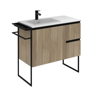 Structure 900mm 2 Door, 2 Drawer Vanity Unit with Ceramic Basin - Oak