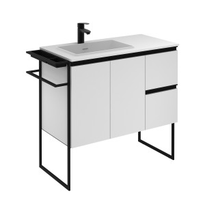 Structure 900mm 2 Door, 2 Drawer Vanity Unit with Solid Surface Basin - Matt White