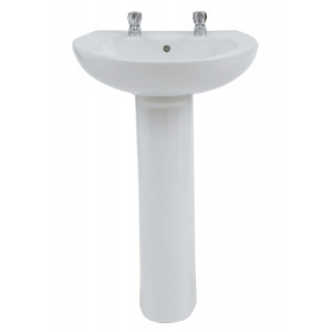 Xclusive 550mm Full Pedestal Basin - 2 Tap Holes