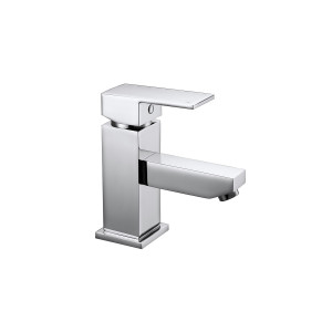 Cube Basin Mixer with Sprung Waste
