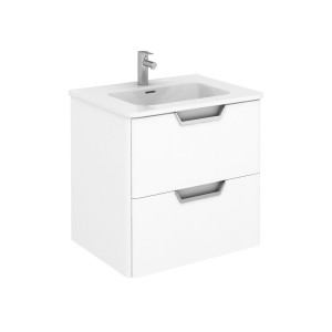 Life 600mm 2 Drawer Wall-Hung Vanity Unit - Gloss White