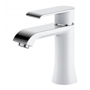 Basque White & Chrome Basin Mixer with Sprung Waste