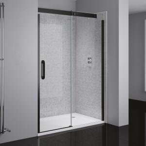 Prestige² Right-Hand Sliding Door - Black/Clear Glass