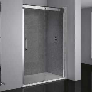 Prestige² Right-Hand Sliding Door - Silver/Smoked Glass